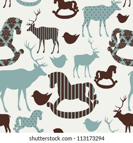 Pattern with deers and rocking horses Seamless christmas background