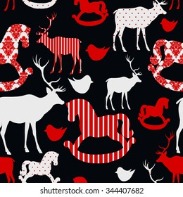 Pattern with deers and rocking horses Seamless christmas background Vector illustration