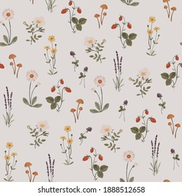Pattern with delicate wildflowers and plants