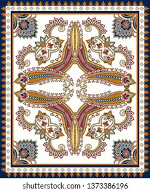 pattern for design carpet with  curls, paisley,decorative elements