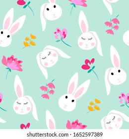Pattern design cute bunny, rabbit face and small pretty flowers, mint, blue background