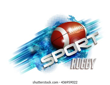 pattern design with Rugby ball, sport text