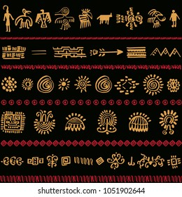 Pattern design with tribal elements. Vector ilustration.