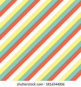 Pattern of diagonal lines stripes, blue green orange yellow, graphic geometric abstract minimal retro vintage, sweet happy kids background illustration in vector