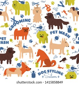 Pattern with different breeds of dogs. Pet care tools. Styling, washing, grooming salon. Hand draw doodle background. Vector illustration of cute home animals. Spitz, akita inu, pug, corgi, shiba inu.