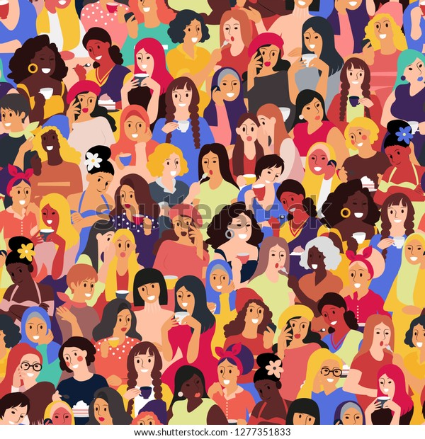 pattern with different female characters vector
