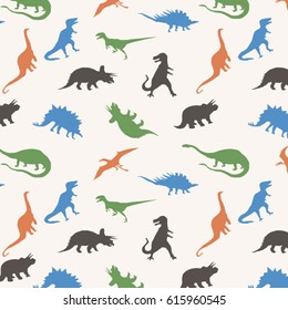 Pattern dinosaur silhouette, tee shirt graphics, vectors, all over print