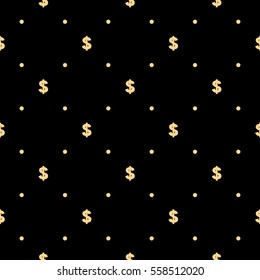 Pattern with dollar sign. Seamless vector background. Black and gold texture. Graphic modern pattern.