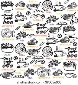 pattern, drinks lunch, breakfast Vector background for design restaurant menu