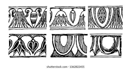 A pattern of egg and dart, vintage line drawing or engraving illustration.