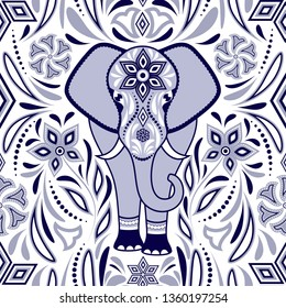 Pattern with elephant and abstract flowers on white background.