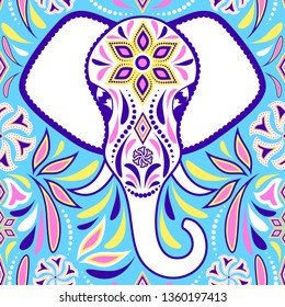 Pattern with elephant and abstract flowers on blue background.