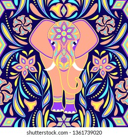 Pattern with elephant and abstract flowers on dark blue background.Surface pattern.