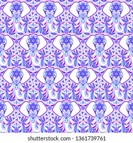 Pattern with elephant and abstract flowers on pink background.