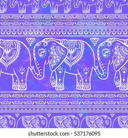Pattern with Elephant and mandala. Frame of animal made in vector. Use for children clothes, pajamas