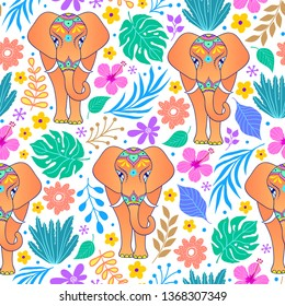 Pattern with elephants and tropical flowers and leaves on white background