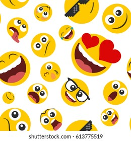 Pattern of emoticons set  in a flat design on a white background