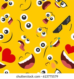 Pattern of emoticons set  in a flat design on a yellow background