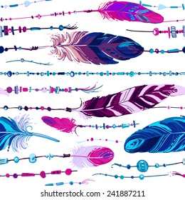 Pattern of ethnic feathers. Ethnic seamless pattern in native style. Bright colored feathers and beads on white background. Vector decorative elements hippie