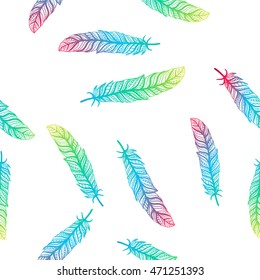 pattern Ethnic graphics feathers,