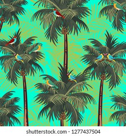 Pattern with exotic birds in forest jungle. Hand drawn illustration, vector. Blue background