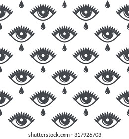 pattern of eyes with tears