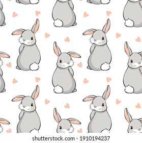 A pattern for fabric or paper with cute bunnies and hearts. Vector pattern