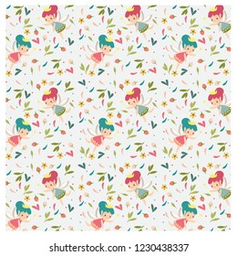 pattern of fairy princess and flower