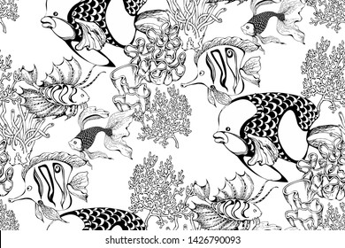 Pattern of fantastic fishes and sea voyages. Vector illustration. Suitable for fabric, wrapping paper and the like