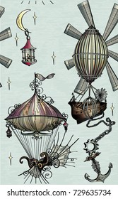 Pattern with fantasy air balloon,air ship,aerostat, stars,moon on blue sky with graphic in steampunk style,vector