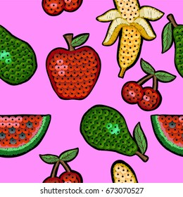 Pattern of fashion embroidered patch fruits with sequin for textile design