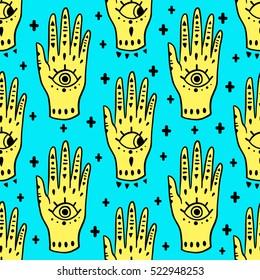 Pattern fashion hands hamsa fatima amulet symbol of protection. Old Vector illustration cartoon 80s-90s Comic style.