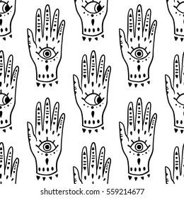 Pattern fashion hands hamsa fatima amulet symbol of protection. Old Vector illustration cartoon 80s-90s