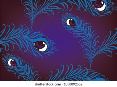 Pattern of feather and mystical eye