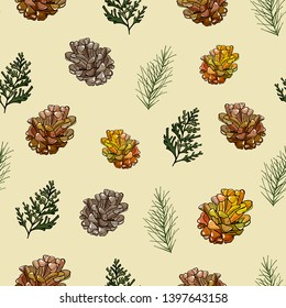 Pattern of fir pine cone  pattern and needles on a yellow background