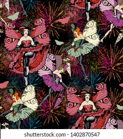 Pattern of fireworks and burlesque dancers. Vector illustration. Suitable for fabric, wrapping paper and the like