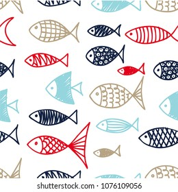 Pattern of fish in the style of doodle.
