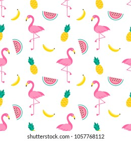 Pattern with Flamingo birds and fruits