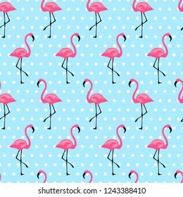 Pattern with flamingo. Design for fabric, wallpaper, textile and decor.