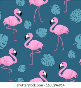 Pattern with flamingos and tropical leaves. Vector seamless texture.