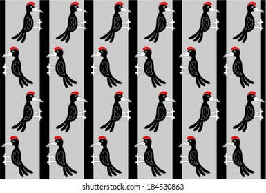 Pattern with a flock of woodpeckers on trees.