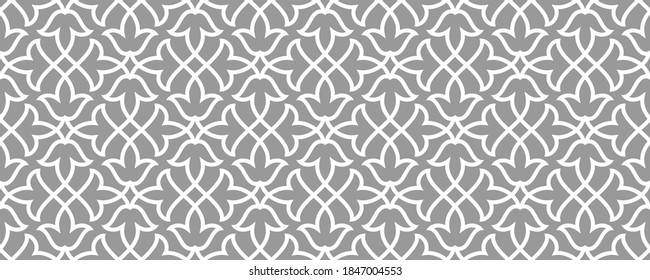 Pattern with floral and geometric elements. Intersecting curved bold stripes forming abstract floral ornament in Arabic style. Arabesque design for design. Seamless Decorative lattice.
