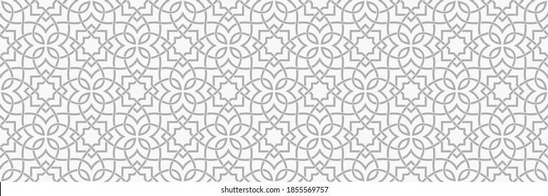 Muster mit floralen und geometrischen Elementen. Intersekting gekrümmte und gerade fette Streifen bilden abstrakte Blumenschmuck im arabischen Stil. Arabesque Design für Design. Nahtloses dekoratives Gitter.