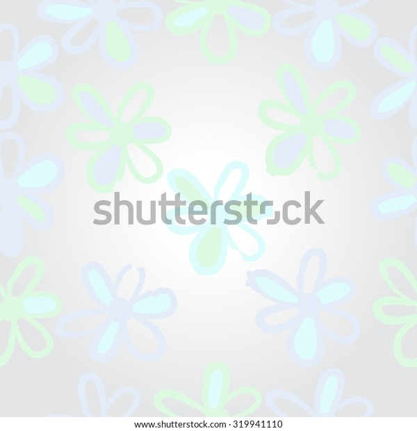 Pattern of floral motif, ellipses, stripes,flowers, doodles. Hand drawn.