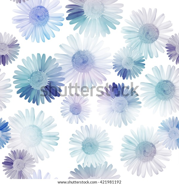 Pattern floral seamless background with blue daisy, chamomile flowers. Vector illustration, EPS10.