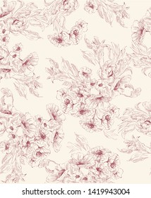 Pattern with flower bouquet in delicate graphic in toile de jouy style, red on beige background