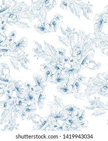 Pattern with flower bouquet in delicate graphic in toile de jouy style , blue on white background