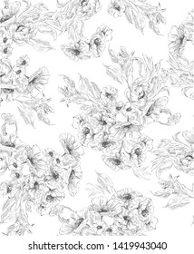 Pattern with flower bouquet in delicate graphic in toile de jouy style, black and white