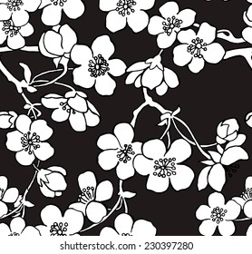 Pattern Flower Cherry Sakura Black