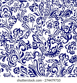 Pattern with flower motive in doodle style, beautiful flowers an